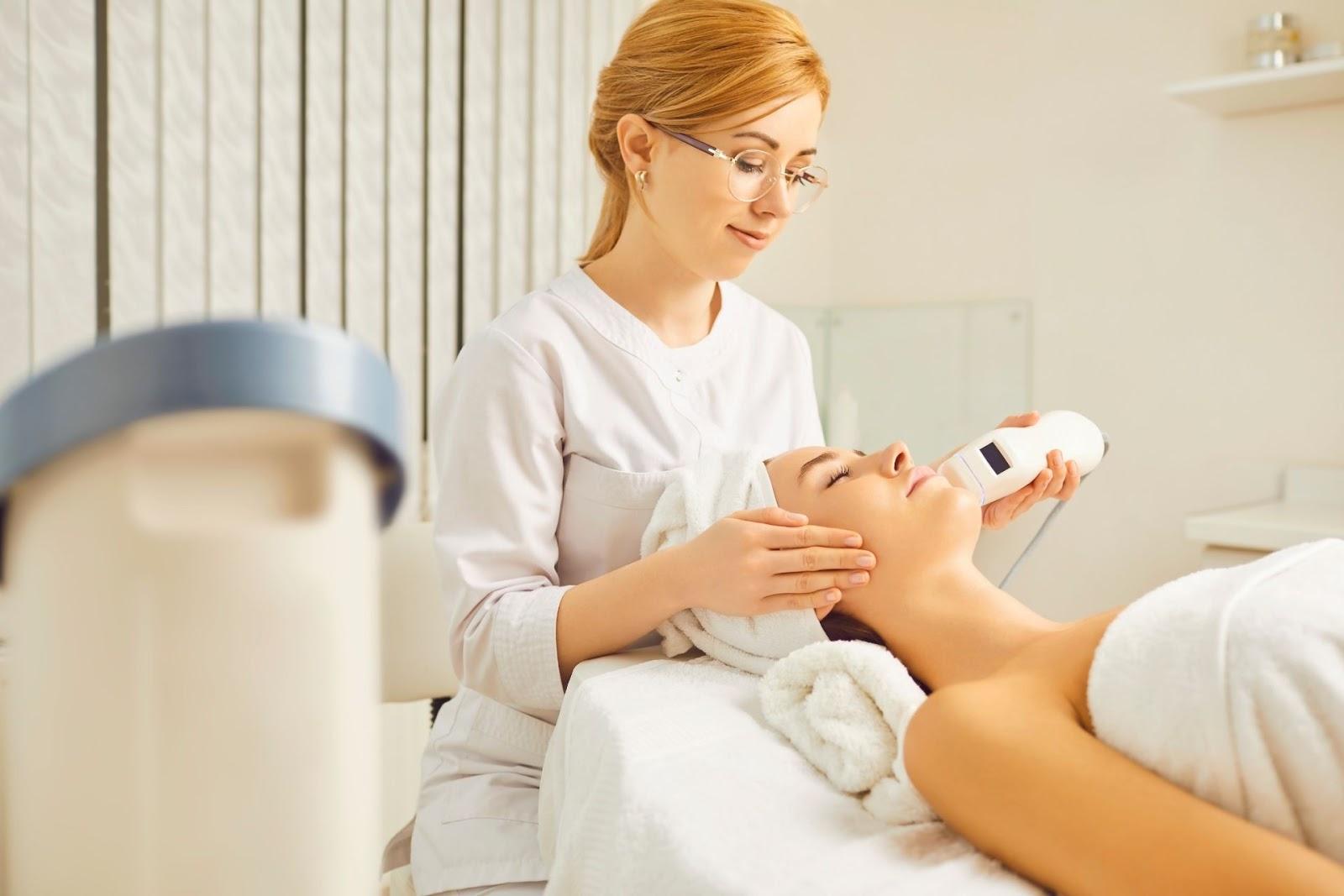 A woman receiving a minimally invasive procedure