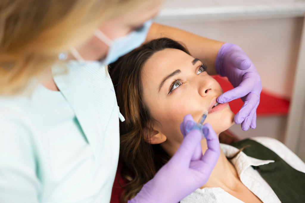 A woman getting dermal filler injections